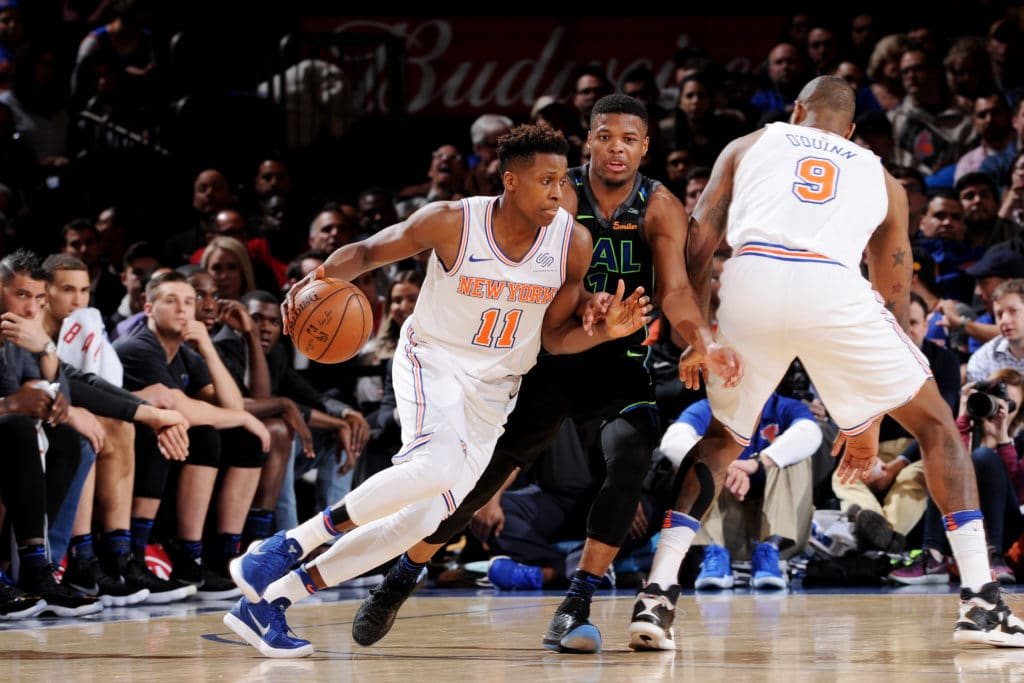 NEW YORK, NY - MARCH 13:  Frank Ntilikina #11 of the New York Knicks handles the ball during the game against the Dallas Mavericks on March 13, 2018 at Madison Square Garden in New York City, New York.  NOTE TO USER: User expressly acknowledges and agrees that, by downloading and or using this photograph, User is consenting to the terms and conditions of the Getty Images License Agreement. Mandatory Copyright Notice: Copyright 2018 NBAE  (Photo by Matteo Marchi/NBAE via Getty Images)
