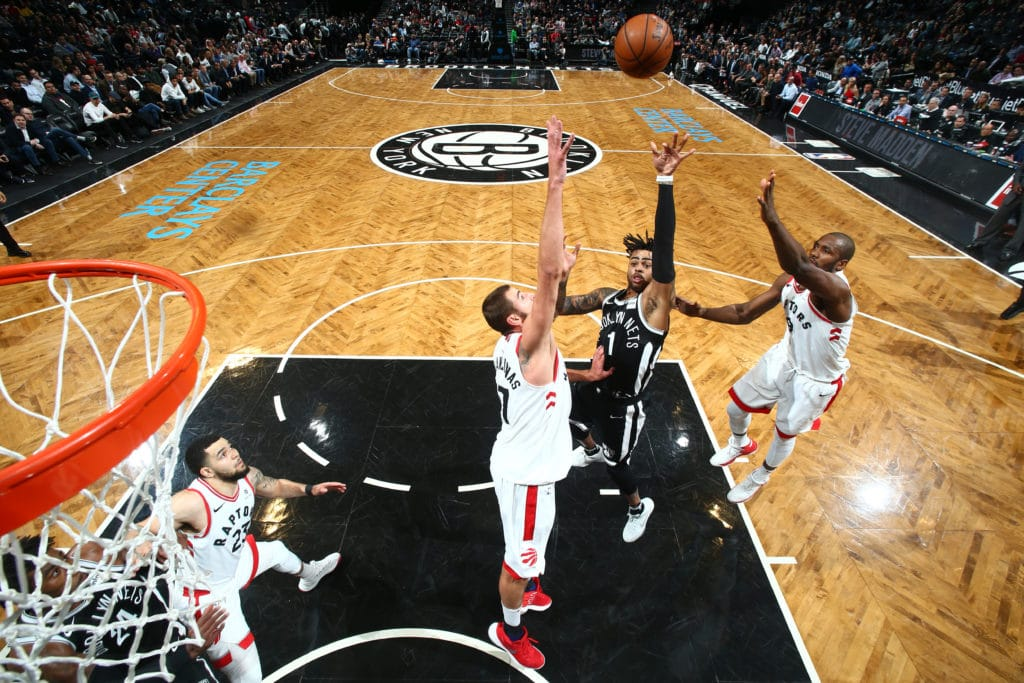 BROOKLYN, NY - MARCH 13:  D'Angelo Russell #1 of the Brooklyn Nets goes to the basket against the Toronto Raptors on March 13, 2018 at Barclays Center in Brooklyn, New York. NOTE TO USER: User expressly acknowledges and agrees that, by downloading and or using this Photograph, user is consenting to the terms and conditions of the Getty Images License Agreement. Mandatory Copyright Notice: Copyright 2018 NBAE (Photo by Nathaniel S. Butler/NBAE via Getty Images)