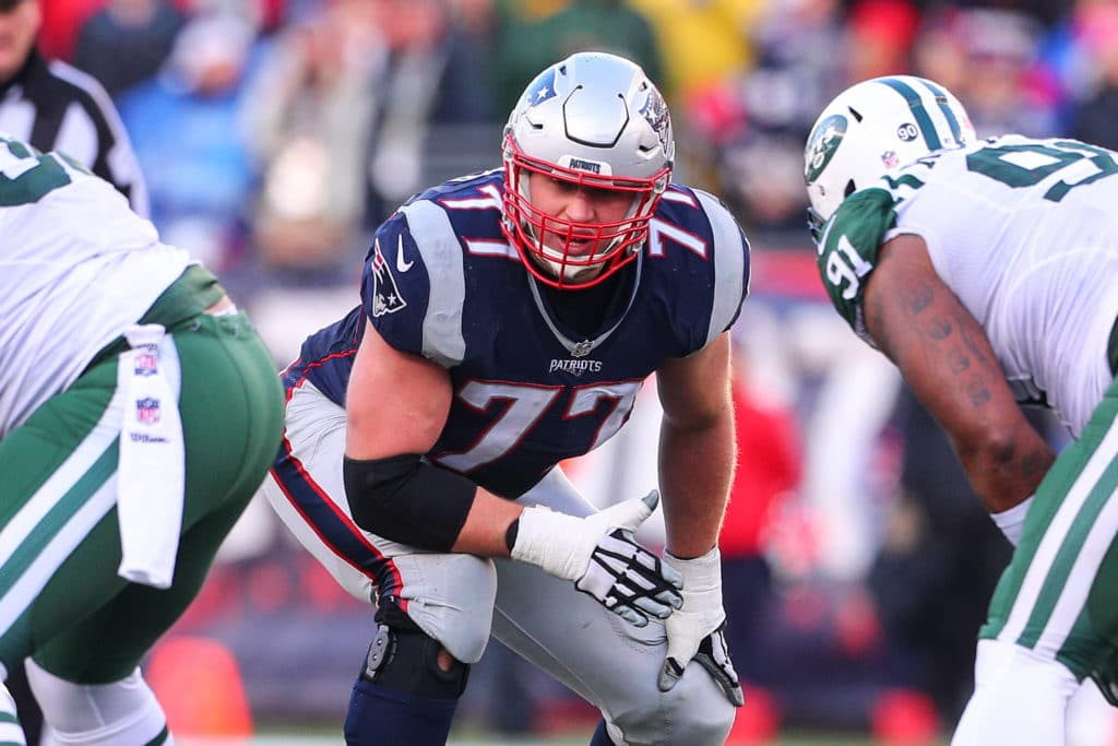 FOXBOROUGH, MA - DECEMBER 24:  New England Patriots tackle Nate Solder (77) during the National Football League game between the New England Patriots and the New York Jets on December 24, 2016, at Gillette Stadium in Foxborough, MA. The New England Patriots defeat the New York Jets 41-3.  (Photo by Rich Graessle/Icon Sportswire via Getty Images)
