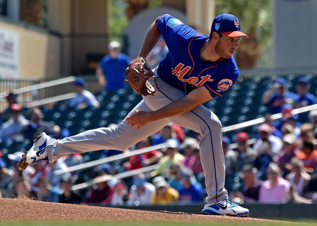 Mar 14, 2018; Jupiter, FL, USA; New York Mets starting pitcher Steven Matz (32) delivers a pitch against the Miami Marlins during a spring training game at Roger Dean Stadium. Mandatory Credit: Steve Mitchell-USA TODAY Sports