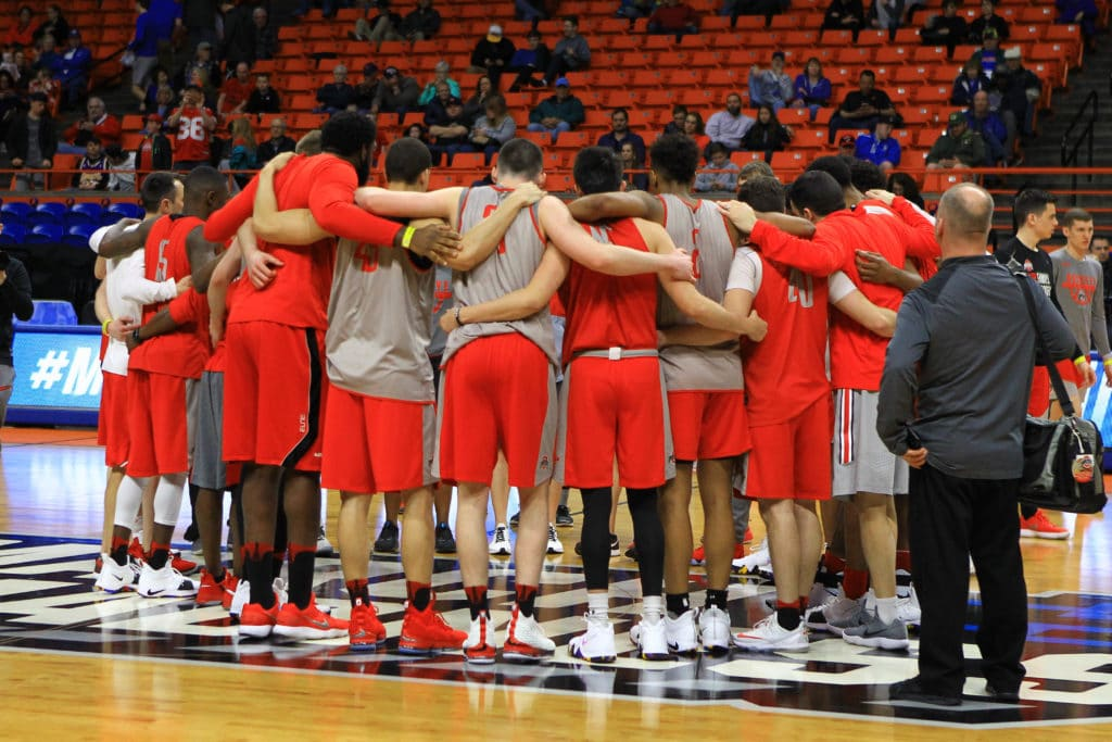 Mar 14, 2018; Boise, ID, USA; Ohio State Buckeyes team members huddle during the practice day before the first round of the 2018 NCAA Tournament at Taco Bell Arena. Mandatory Credit: Brian Losness-USA TODAY Sports
