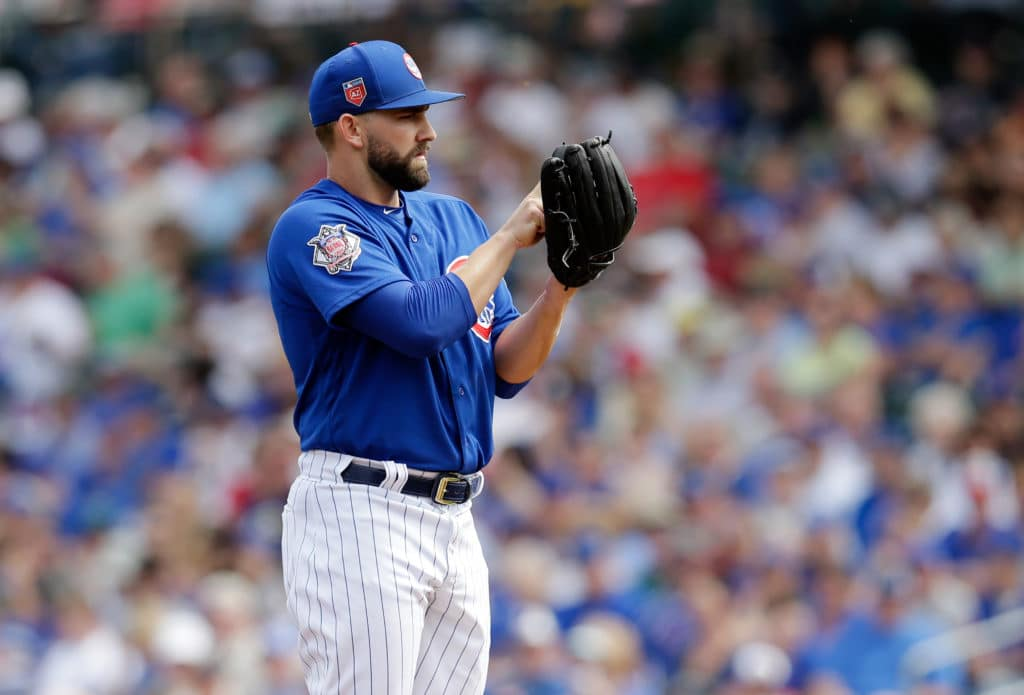Mar 8, 2018; Mesa, AZ, USA; Chicago Cubs starting pitcher Tyler Chatwood (21) against the San Diego Padres at Sloan Park. Mandatory Credit: Rick Scuteri-USA TODAY Sports