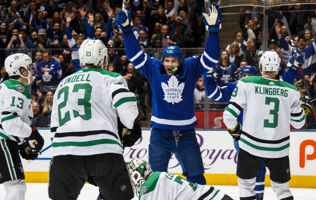 TORONTO, ON - MARCH 14: James van Riemsdyk #25 of the Toronto Maple Leafs celebrates after scoring his third goal of the game against Kari Lehtonen #32 of the Dallas Stars as Esa Lindell #23 and John Klingberg #3 defend during the third period at the Air Canada Centre on March 14, 2018 in Toronto, Ontario, Canada. (Photo by Mark Blinch/NHLI via Getty Images)