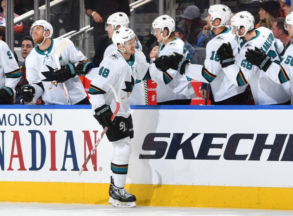 EDMONTON, AB - MARCH 14: Tomas Hertl #48 of the San Jose Sharks celebrates after a goal during the game against the Edmonton Oilers on March 14, 2018 at Rogers Place in Edmonton, Alberta, Canada. (Photo by Andy Devlin/NHLI via Getty Images)