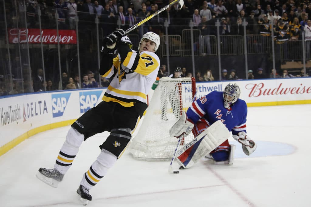 NEW YORK, NY - MARCH 14:  Alexandar Georgiev #40 of the New York Rangers makes the save on Evgeni Malkin #71 of the Pittsburgh Penguins on the penalty shot with ten seconds remaining in the third period at Madison Square Garden on March 14, 2018 in New York City.  The Rangers defeated the Penguins 4-3 in overtime.  (Photo by Bruce Bennett/Getty Images)