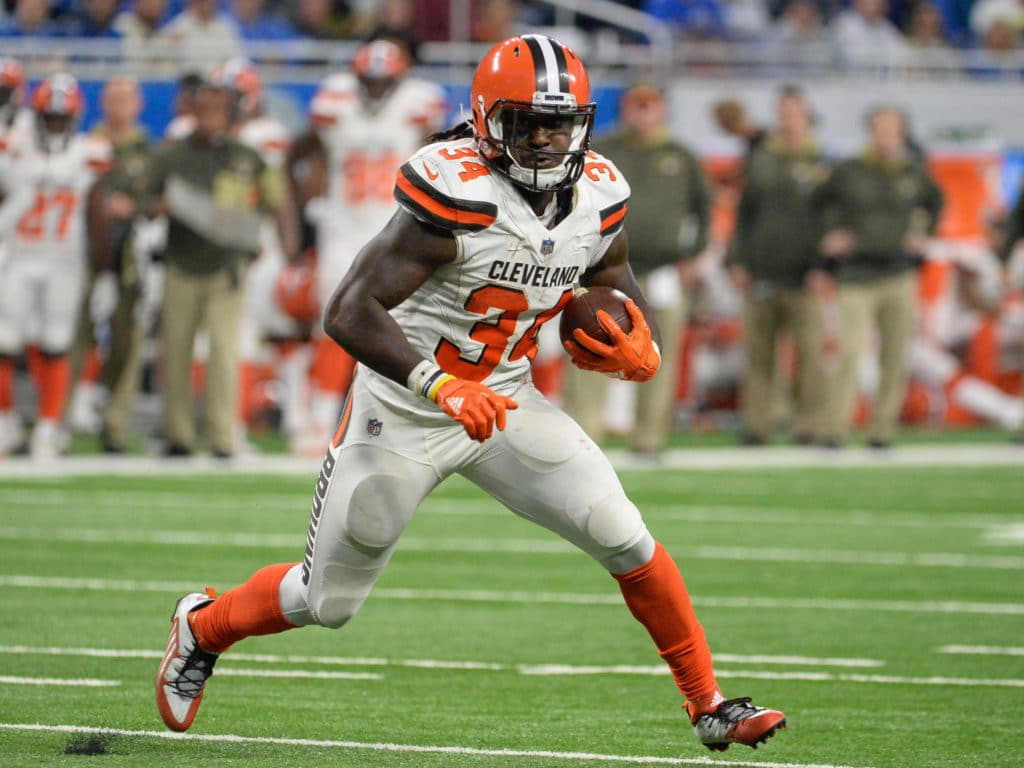 DETROIT, MI - NOVEMBER 12, 2017: Running back Isaiah Crowell #34 of the Cleveland Browns carries the ball downfield in the third quarter of a game on November 12, 2017 against the Detroit Lions at Ford Field in Detroit, Michigan. Detroit won 38-24. (Photo by: 2017 Nick Cammett/Diamond Images/Getty Images)