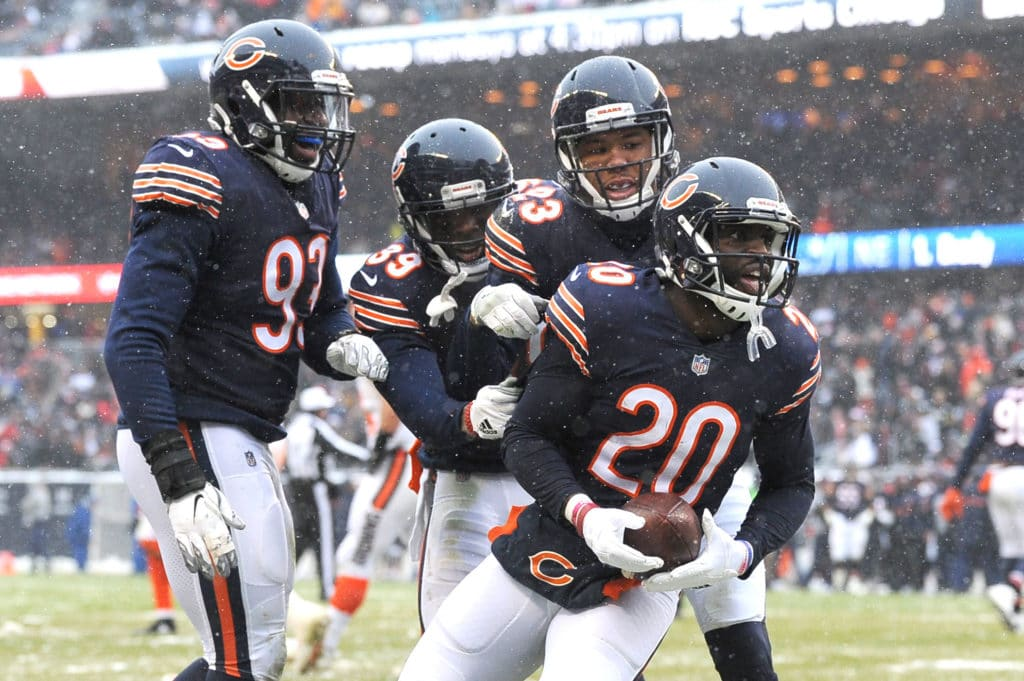 Dec 24, 2017; Chicago, IL, USA; Chicago Bears defensive back Prince Amukamara (20) celebrates with defensive back Kyle Fuller (23), defensive back Eddie Jackson (39), linebacker Sam Acho (93) after recovering a fumble during the second half at Soldier Field. The Bears won 20-3. Mandatory Credit: Patrick Gorski-USA TODAY Sports