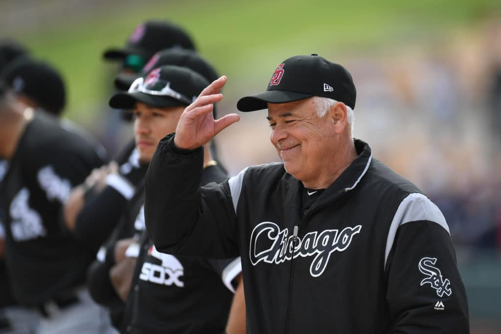 Feb 23, 2018; Phoenix, AZ, USA; Chicago White Sox manager Rick Renteria (17) looks on prior to facing the Los Angeles Dodgers at Camelback Ranch. Mandatory Credit: Joe Camporeale-USA TODAY Sports