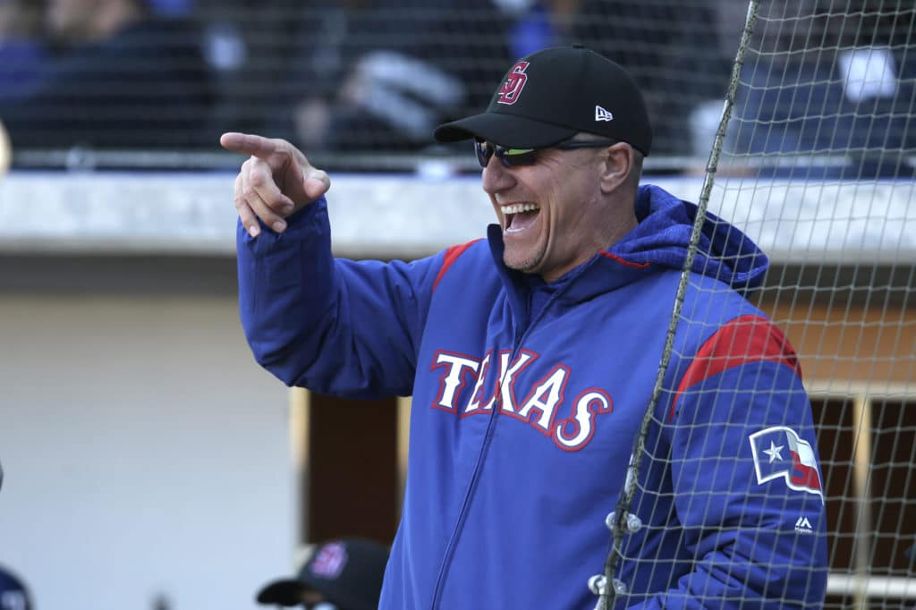 Feb 24, 2018; Mesa, AZ, USA; Texas Rangers manager Jeff Banister before a game against the Chicago Cubs at Sloan Park. Mandatory Credit: Rick Scuteri-USA TODAY Sports