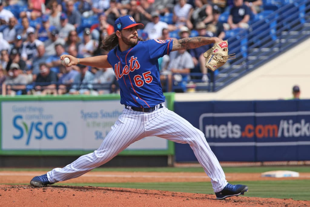 PORT ST. LUCIE, FL - MARCH 7: Robert Gsellman #65 of the New York Mets throws the ball against the New York Yankees during a spring training game at First Date Field on March 7, 2018 in Port St. Lucie, Florida. The Yankees defeated the Mets 11-4. (Photo by Joel Auerbach/Getty Images)