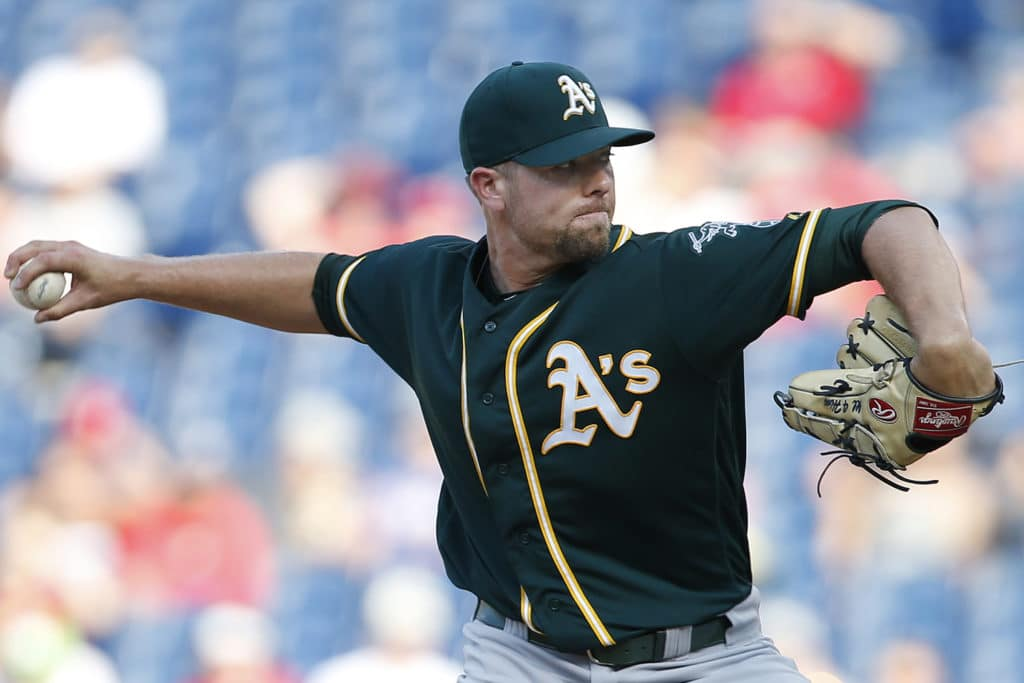 PHILADELPHIA, PA - SEPTEMBER 17: Blake Treinen #39 of the Oakland Athletics in action against the Philadelphia Phillies during a game at Citizens Bank Park on September 17, 2017 in Philadelphia, Pennsylvania. (Photo by Rich Schultz/Getty Images)