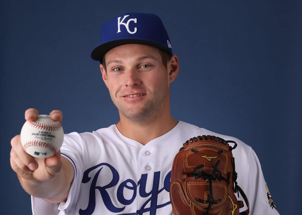 SURPRISE, AZ - FEBRUARY 22:  Pitcher Trevor Oaks #34 of the Kansas City Royals poses for a portrait during photo day at Surprise Stadium on February 22, 2018 in Surprise, Arizona.  (Photo by Christian Petersen/Getty Images)