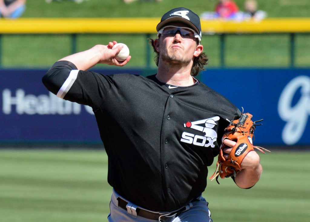 Feb 27, 2018; Mesa, AZ, USA; Chicago White Sox pitcher Carson Fulmer (51) throws during the first inning against the Chicago Cubs at Sloan Park. Mandatory Credit: Matt Kartozian-USA TODAY Sports