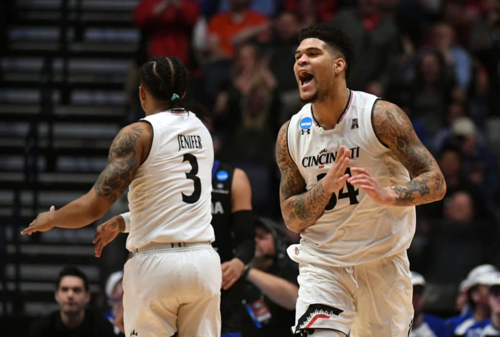 fMar 16, 2018; Nashville, TN, USA; Cincinnati Bearcats guard Jarron Cumberland (34) reacts during the first half against the Georgia State Panthers in the first round of the 2018 NCAA Tournament at Bridgestone Arena. Mandatory Credit: Christopher Hanewinckel-USA TODAY Sports