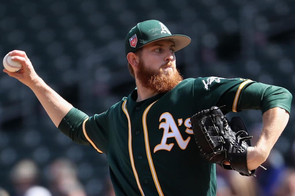 MESA, AZ - FEBRUARY 28:  Starting pitcher Paul Blackburn #58 of the Oakland Athletics pitches against the Chicago Cubs during the first inning of the spring training game at Sloan Park on February 28, 2018 in Mesa, Arizona.  (Photo by Christian Petersen/Getty Images)