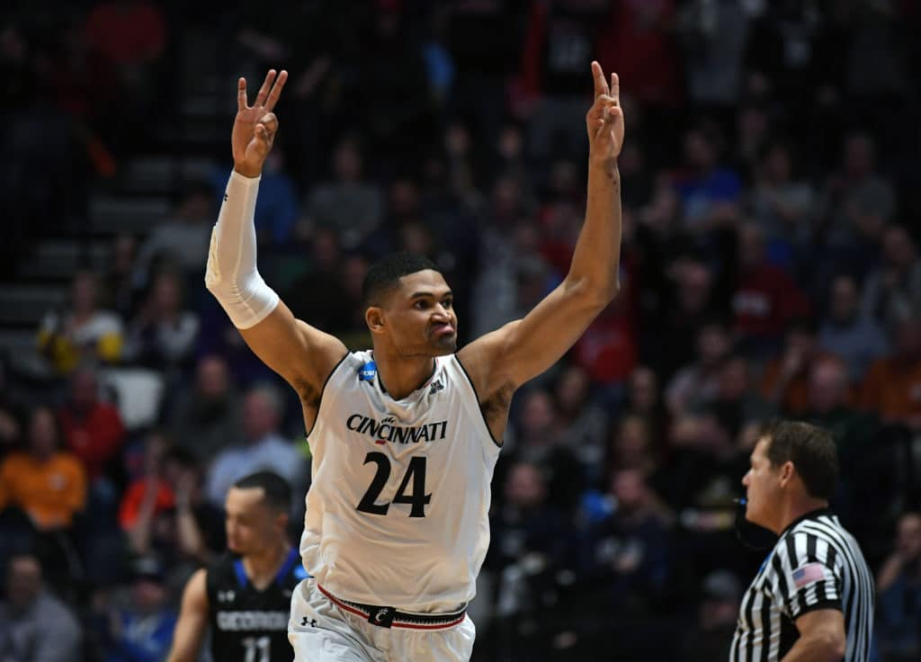 fMar 16, 2018; Nashville, TN, USA; Cincinnati Bearcats forward Kyle Washington (24) reacts during the first half against the Georgia State Panthers in the first round of the 2018 NCAA Tournament at Bridgestone Arena. Mandatory Credit: Christopher Hanewinckel-USA TODAY Sports