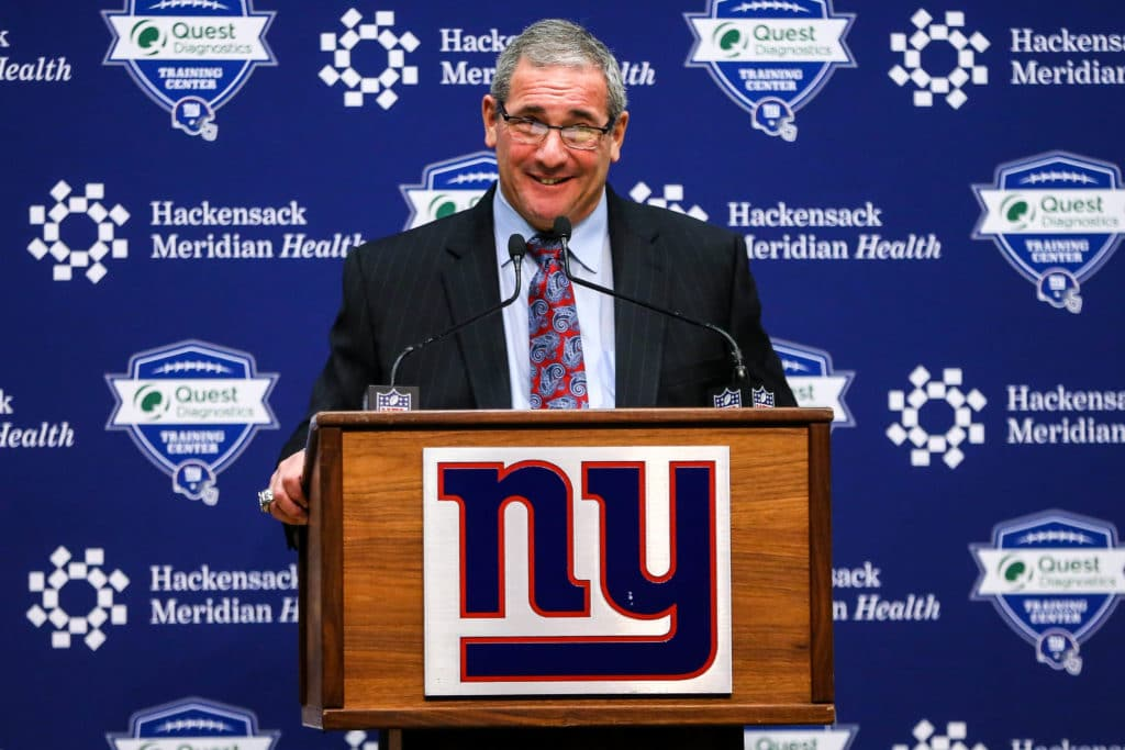Dec 29, 2017; East Rutherford, NJ, USA; New York Giants general manager Dave Gettleman addresses the media at Quest Diagnostics Training Center. Mandatory Credit: Vincent Carchietta-USA TODAY Sports
