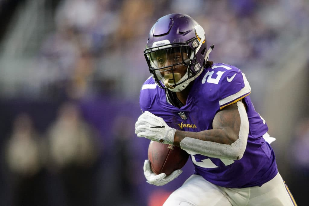 MINNEAPOLIS, MN - NOVEMBER 19: Jerick McKinnon #21 of the Minnesota Vikings carries the ball against the Los Angeles Rams during the game on November 19, 2017 at US Bank Stadium in Minneapolis, Minnesota. (Photo by Hannah Foslien/Getty Images)
