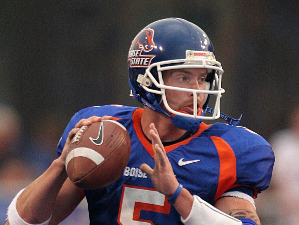 BOISE, ID - SEPTEMBER 7, 2006:  Jared Zabransky, #5 quarterback of the Boise State University Broncos football team looks to throw the ball against the Oregon State University Beavers on September 7, 2006 at Bronco Stadium in Boise, Idaho.  The Broncos won 42-14. (Photo by Steve Conner/Boise State University/Getty Images)