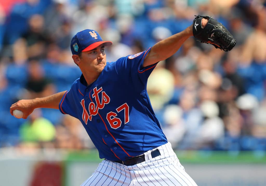 PORT ST. LUCIE, FL - MARCH 06: Seth Lugo #67 of the New York Mets in action during a spring training game against the Houston Astros at First Data Field on March 6, 2018 in Port St. Lucie, Florida. The Mets defeated the Astros 9-5. (Photo by Rich Schultz/Getty Images)
