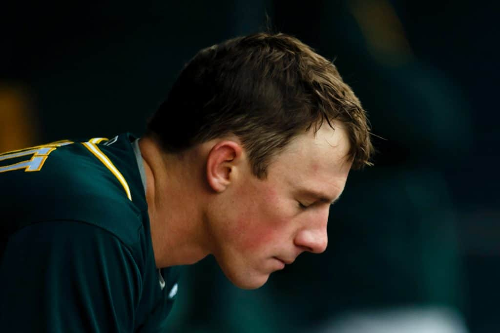 Apr 28, 2016; Detroit, MI, USA; Oakland Athletics starting pitcher Chris Bassitt (40) sits in dugout after being relieved in the fourth inning against the Detroit Tigers at Comerica Park. Mandatory Credit: Rick Osentoski-USA TODAY Sports
