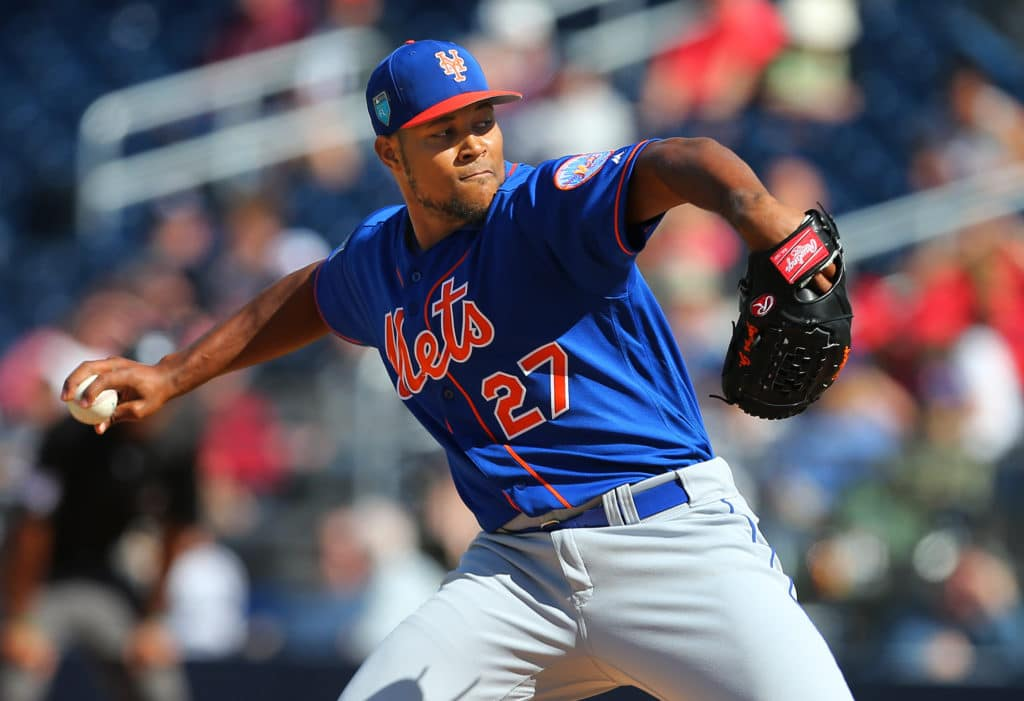 WEST PALM BEACH, FL - MARCH 08: Jeurys Familia #27 of the New York Mets in action during a spring training game against the Washington Nationals  at FITTEAM Ball Park of the Palm Beaches on March 8, 2018 in West Palm Beach, Florida. (Photo by Rich Schultz/Getty Images)