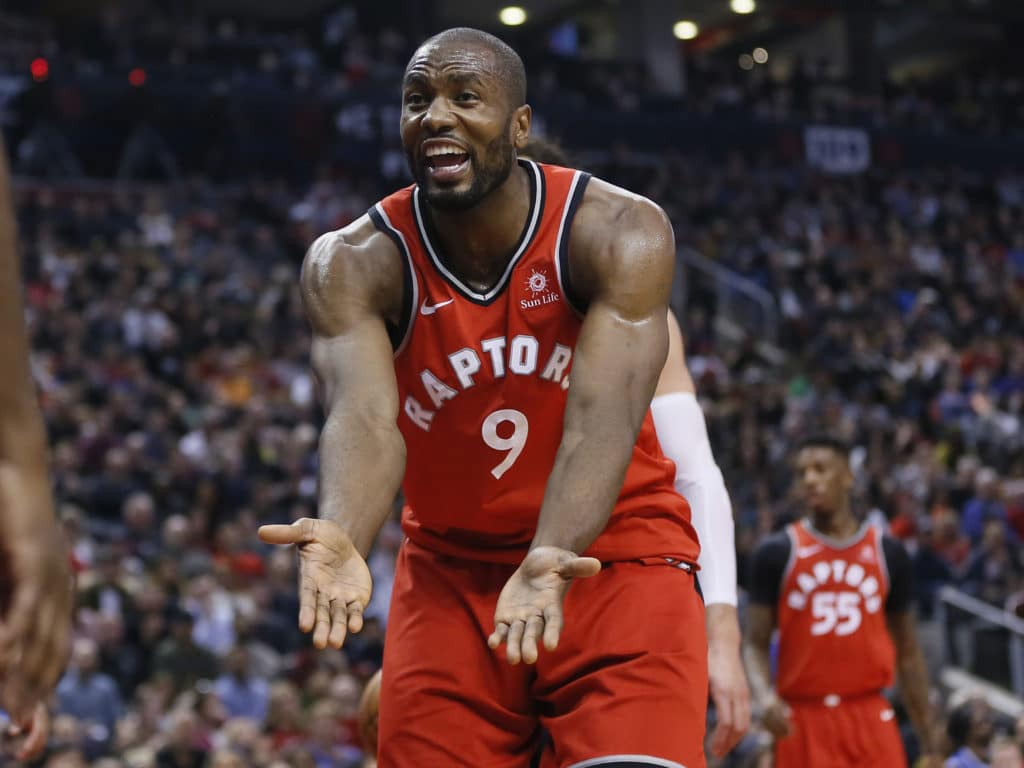 Mar 18, 2018; Toronto, Ontario, CAN; Toronto Raptors forward Serge Ibaka (9) pleads for a call against the Oklahoma City Thunder during the first half at the Air Canada Centre. Mandatory Credit: John E. Sokolowski-USA TODAY Sports