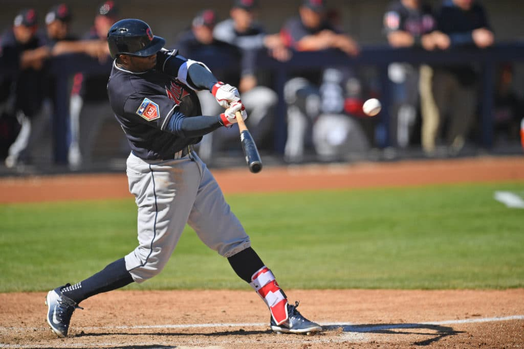 Mar 4, 2018; Phoenix, AZ, USA; Cleveland Indians center fielder Rajai Davis (26) bats against the Milwaukee Brewers during the fourth inning at Maryvale Baseball Park. Mandatory Credit: Joe Camporeale-USA TODAY Sports