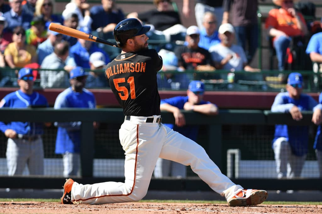 SCOTTSDALE, AZ - FEBRUARY 26:  Mac Williamson #51 of the San Francisco Giants singles in the spring training game against the Kansas City Royals at Scottsdale Stadium on February 26, 2018 in Scottsdale, Arizona.  (Photo by Jennifer Stewart/Getty Images)