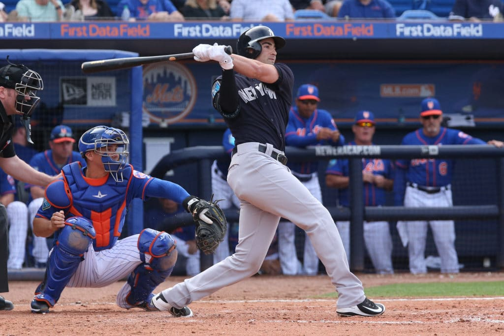 PORT ST. LUCIE, FL - MARCH 7: Tyler Wade #39 of the New York Yankees hits the ball against the New York Mets during a spring training game at First Data Field on March 7, 2018 in Port St. Lucie, Florida. The Yankees defeated the Mets 11-4. (Photo by Joel Auerbach/Getty Images)