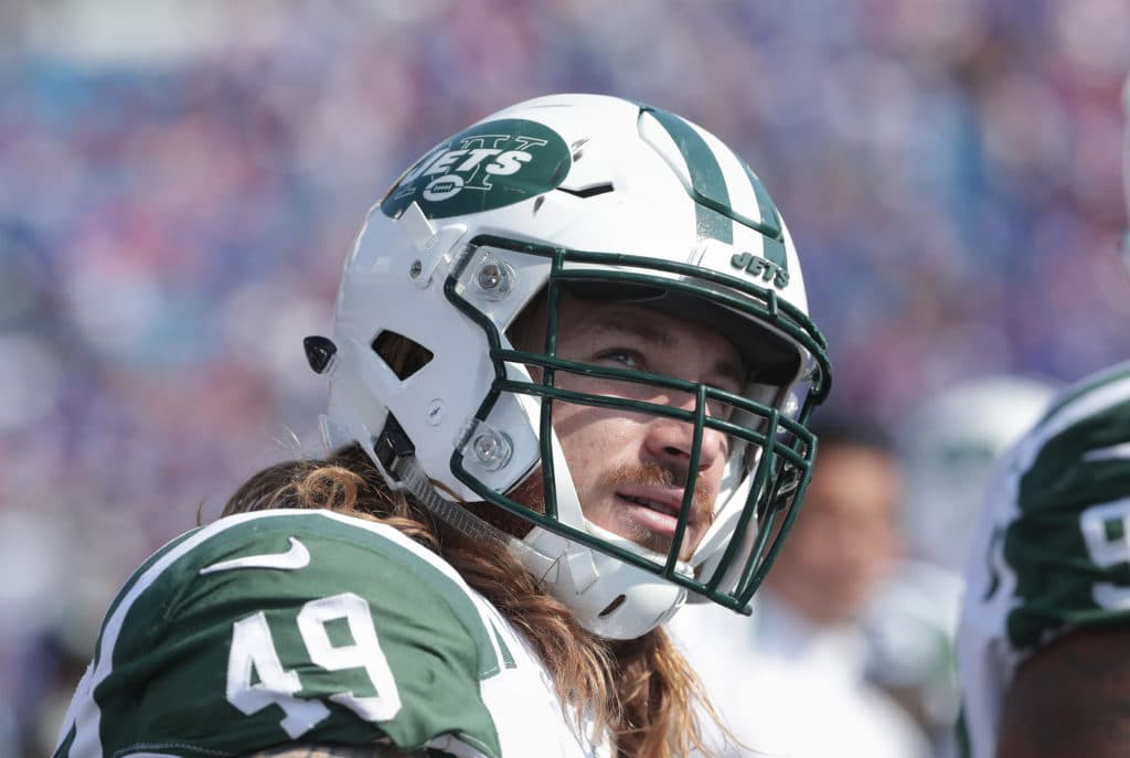 BUFFALO, NY - SEPTEMBER 10: Dylan Donahue #49 of the New York Jets looks on from the sideline during NFL game action against the Buffalo Bills at New Era Field on September 10, 2017 in Buffalo, New York. (Photo by Tom Szczerbowski/Getty Images)