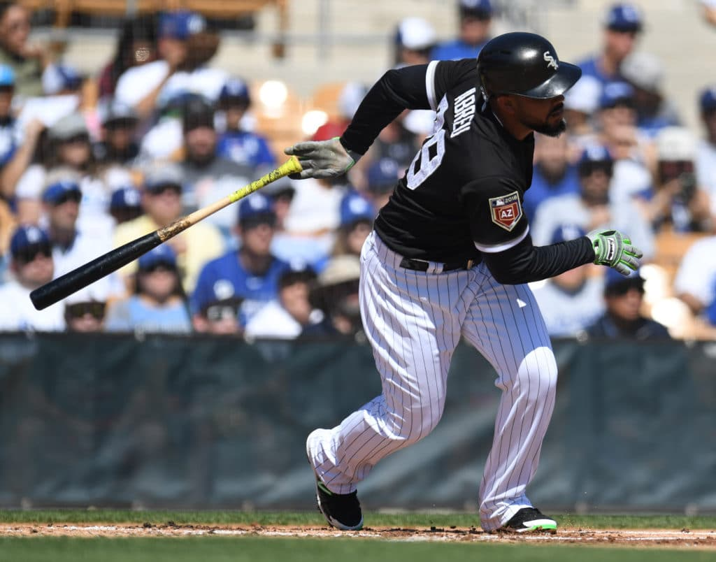 Mar 2, 2018; Phoenix, AZ, USA; Chicago White Sox first baseman Jose Abreu (79) bats against the Los Angeles Dodgers during the first inning at Camelback Ranch. Mandatory Credit: Joe Camporeale-USA TODAY Sports
