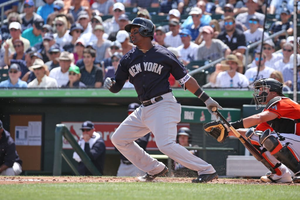 JUPITER, FL - MARCH 11: Miguel Andujar #67 of the New York Yankees hits the ball against the Miami Marlins during a spring training game at Roger Dean Chevrolet Stadium on March 11, 2018 in Jupiter, Florida. The Marlins defeated the Yankees 7-5. (Photo by Joel Auerbach/Getty Images)