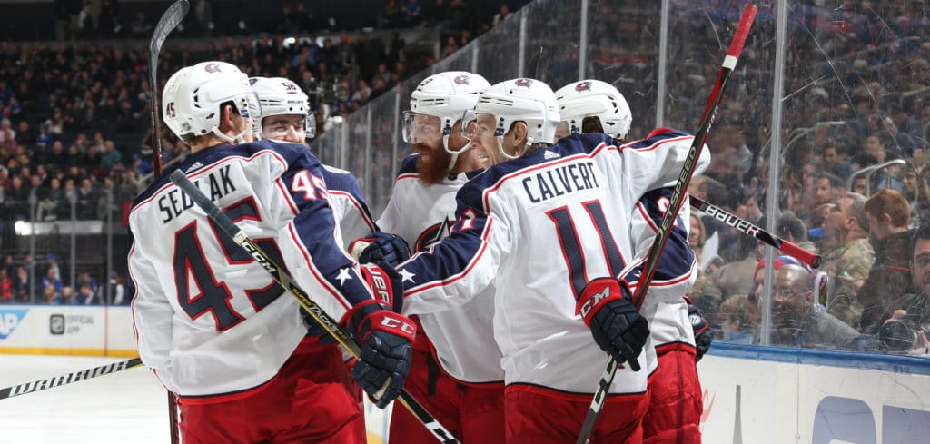 NEW YORK, NY - MARCH 20:  Artemi Panarin #9 of the Columbus Blue Jackets celebrates with teammates after scoring a goal in the second period against the New York Rangers at Madison Square Garden on March 20, 2018 in New York City. (Photo by Jared Silber/NHLI via Getty Images)