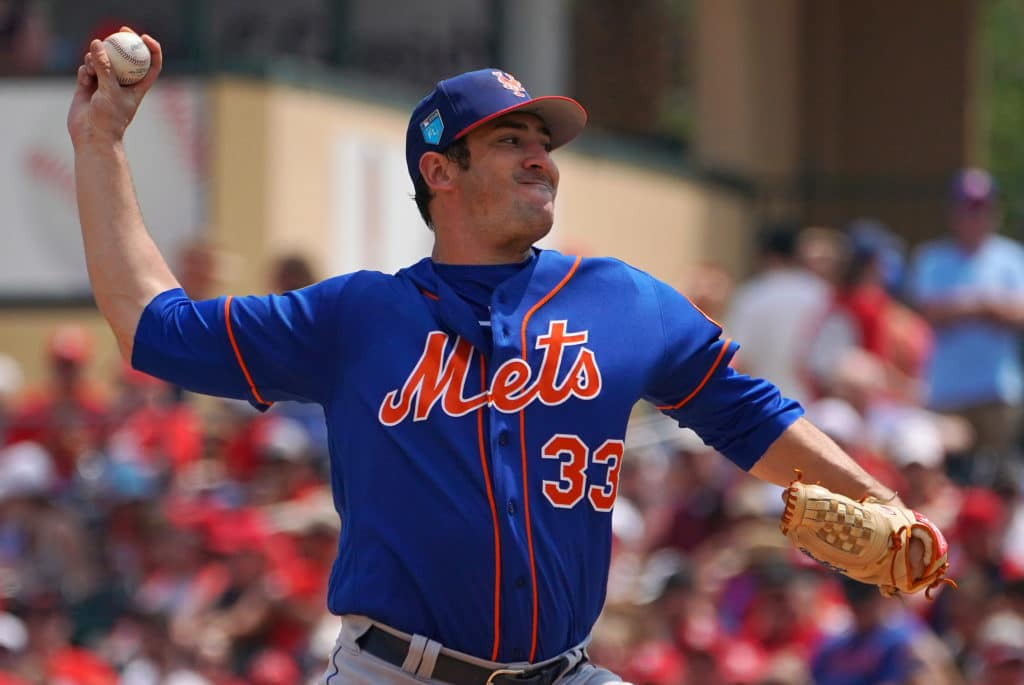Mar 20, 2018; Jupiter, FL, USA; New York Mets starting pitcher Matt Harvey (33) delivers a pitch in the third inning against the St. Louis Cardinals of a spring training game at Roger Dean Stadium. Mandatory Credit: Jasen Vinlove-USA TODAY Sports