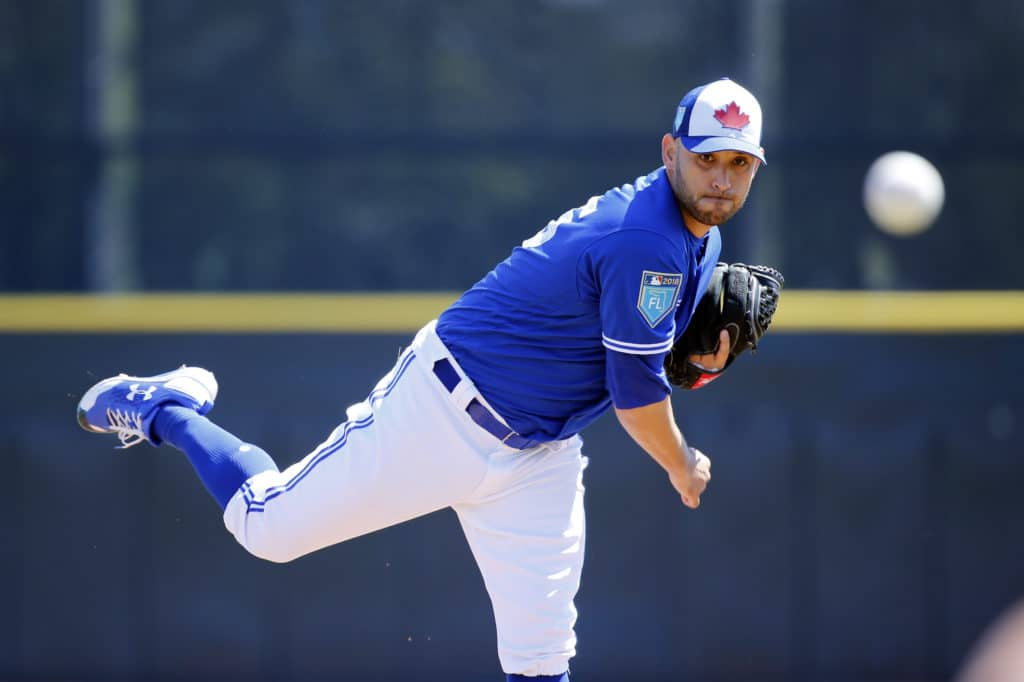 Mar 9, 2018; Dunedin, FL, USA; Toronto Blue Jays starting pitcher Marco Estrada (25) throws a pitch during the first inning against the Baltimore Orioles  at Florida Auto Exchange Stadium. Mandatory Credit: Kim Klement-USA TODAY Sports