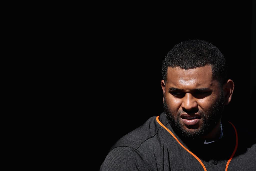 SURPRISE, AZ - MARCH 05:  Pablo Sandoval #48 of the San Francisco Giants in the dugout during a spring training game against the Texas Rangers at Surprise Stadium on March 5, 2018 in Surprise, Arizona.  (Photo by Christian Petersen/Getty Images)