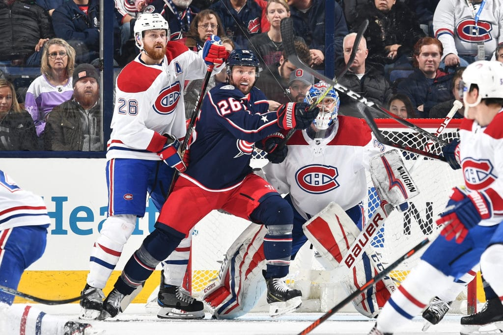 COLUMBUS, OH - MARCH 12:  Jeff Petry #26 of the Montreal Canadiens and Thomas Vanek #26 of the Columbus Blue Jackets battle for position on March 12, 2018 at Nationwide Arena in Columbus, Ohio.  (Photo by Jamie Sabau/NHLI via Getty Images)