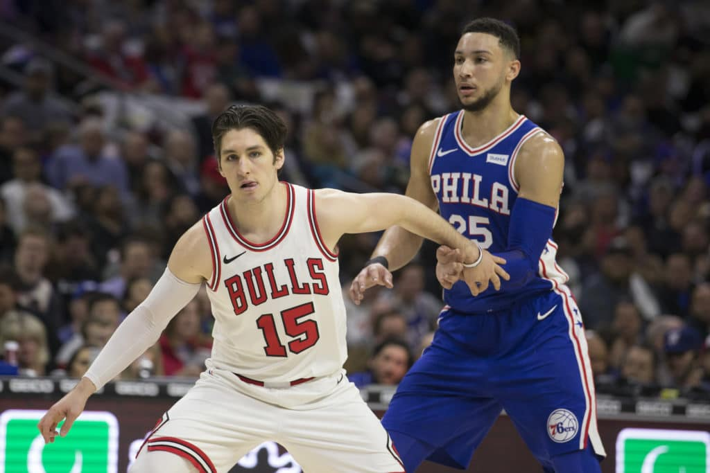 PHILADELPHIA, PA - JANUARY 24: Ryan Arcidiacono #15 of the Chicago Bulls in action against Ben Simmons #25 of the Philadelphia 76ers at the Wells Fargo Center on January 24, 2018 in Philadelphia, Pennsylvania. NOTE TO USER: User expressly acknowledges and agrees that, by downloading and or using this photograph, User is consenting to the terms and conditions of the Getty Images License Agreement. (Photo by Mitchell Leff/Getty Images)