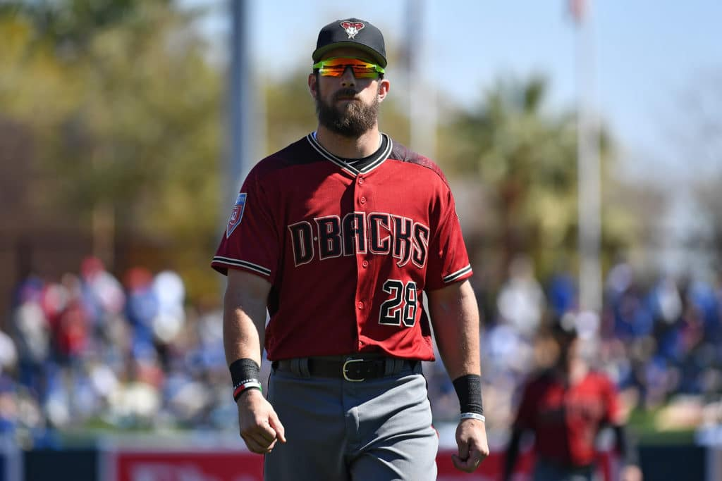 GLENDALE, AZ - MARCH 03:  Steven Souza Jr. #28 of the Arizona Diamondbacks warms up for the spring-training game against the Los Angeles Dodgers at Camelback Ranch on March 3, 2018 in Glendale, Arizona.  (Photo by Jennifer Stewart/Getty Images)