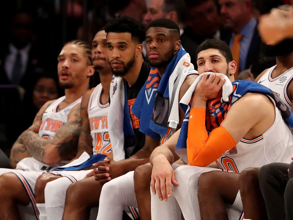 NEW YORK, NY - FEBRUARY 26:  The New York Knicks bench reacts to the loss to the Golden State Warriors at Madison Square Garden on February 26, 2018 in New York City. NOTE TO USER: User expressly acknowledges and agrees that, by downloading and or using this Photograph, user is consenting to the terms and conditions of the Getty Images License Agreement  (Photo by Elsa/Getty Images)