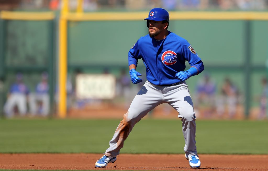 SCOTTSDALE, AZ - FEBRUARY 25: Kyle Schwarber #12 of the Chicago Cubs stands at second base during a game against the San Francisco Giants on Sunday, February 25, 2018 at Scottsdale Stadium in Scottsdale, Arizona.  (Photo by Alex Trautwig/MLB Photos via Getty Images)