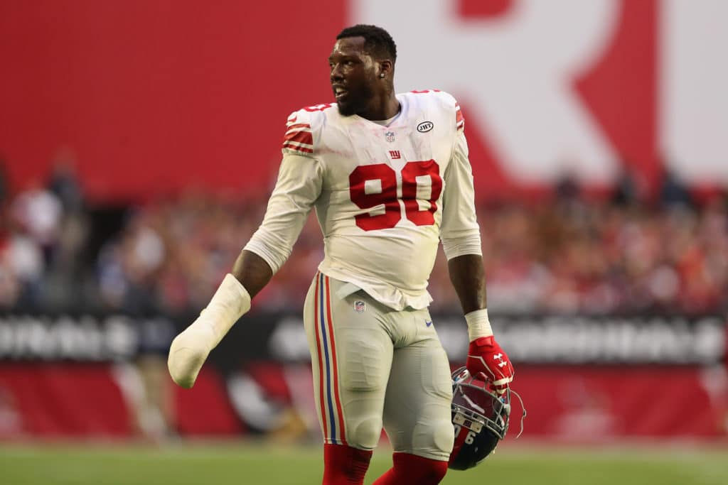GLENDALE, AZ - DECEMBER 24:  Defensive end Jason Pierre-Paul #90 of the New York Giants during the first half of the NFL game against the Arizona Cardinals at the University of Phoenix Stadium on December 24, 2017 in Glendale, Arizona.  The Cardinals defeated the Giants 23-0.  (Photo by Christian Petersen/Getty Images)