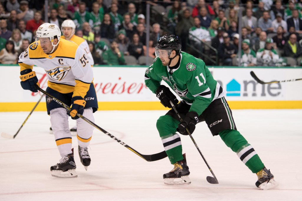 Dec 5, 2017; Dallas, TX, USA; Nashville Predators defenseman Roman Josi (59) and Dallas Stars left wing Curtis McKenzie (11) in action during the game at the American Airlines Center. The Predators defeat the Stars 5-2. Mandatory Credit: Jerome Miron-USA TODAY Sports