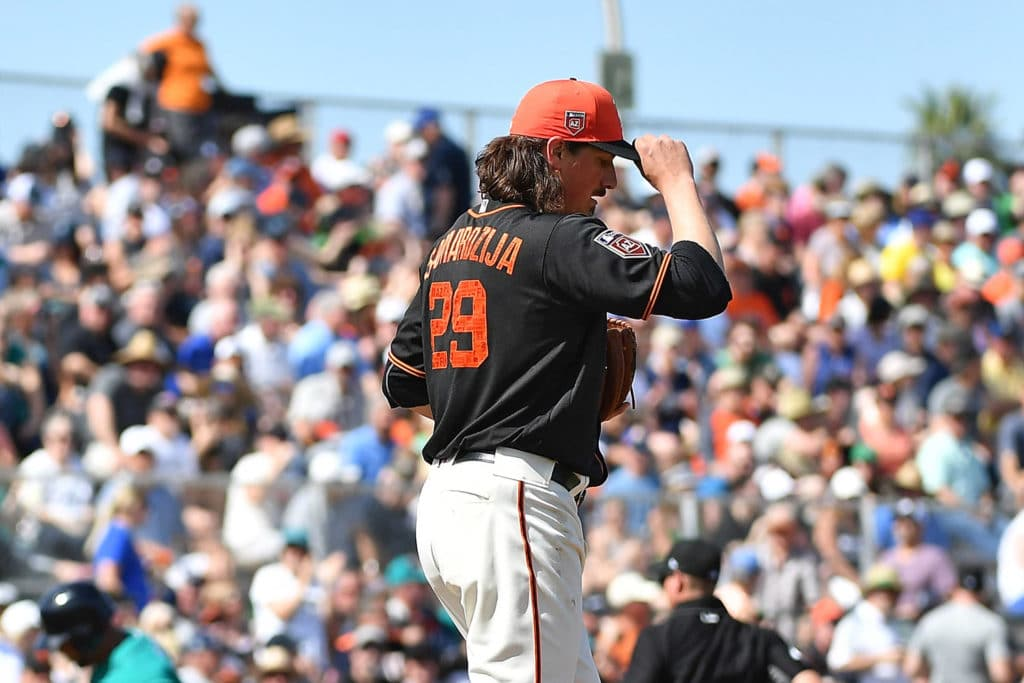 SCOTTSDALE, AZ - MARCH 09: Jeff Samardzija #29 of the San Francisco Giants reacts on the mound after Nelson Cruz #23 of the Seattle Mariners hits a solo home run in the third inning of the spring training game at Scottsdale Stadium on March 9, 2018 in Scottsdale, Arizona. (Photo by Jennifer Stewart/Getty Images)