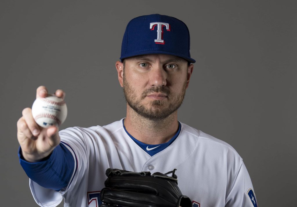 Feb 21, 2018; Surprise, AZ, USA; Texas Rangers relief pitcher Kevin Jepsen (32) poses for a photo during media day at Surprise Stadium. Mandatory Credit: Jerome Miron-USA TODAY Sports