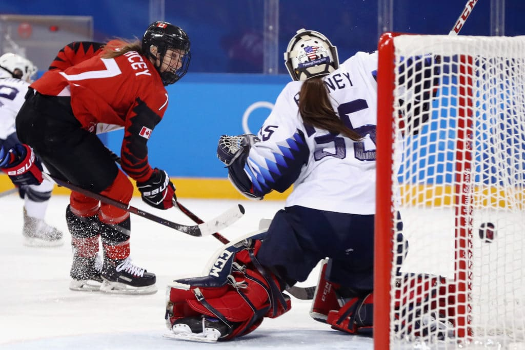 GANGNEUNG, SOUTH KOREA - FEBRUARY 15: Madeline Rooney #35 of the United States fails to make a save against Sarah Nurse #20 of Canada (not pictured) during the Women's Ice Hockey Preliminary Round Group A game on day six of the PyeongChang 2018 Winter Olympic Games at Kwandong Hockey Centre on February 15, 2018 in Gangneung, South Korea.  (Photo by Ronald Martinez/Getty Images)
