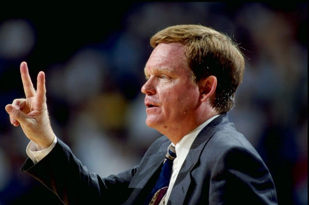 21 Jan 1999: Head coach Pete Gillen of the Virginia Cavaliers signals to his players during the game against the North Carolina Tar Heels at the Dean Smith Center in Chapel Hill, North Carolina. The Tar Heels defeated the Cavaliers 71-47.