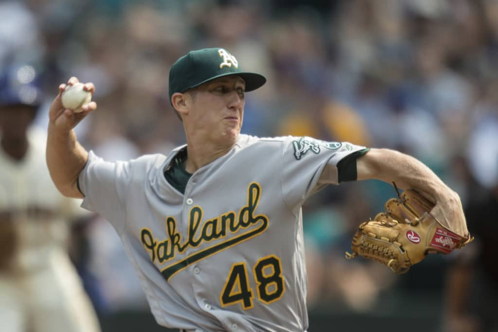 SEATTLE, WA - SEPTEMBER 3: Starter Daniel Gossett #48 of the Oakland Athletics delivers a pitch during the first inning of a game against the Seattle Mariners at Safeco Field on September 3, 2017 in Seattle, Washington. (Photo by Stephen Brashear/Getty Images)