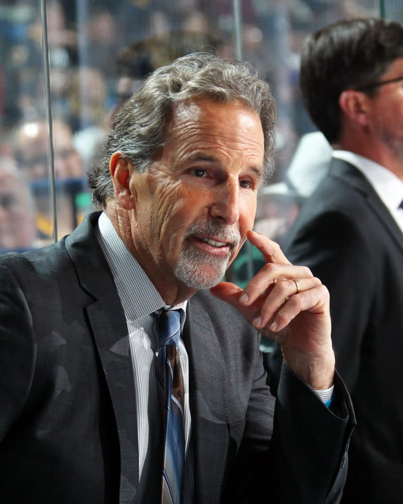 BUFFALO, NY - NOVEMBER 20: Head coach John Tortorella of the Columbus Blue Jackets watches the action against the Buffalo Sabres during an NHL game on November 20, 2017 at KeyBank Center in Buffalo, New York. (Photo by Bill Wippert/NHLI via Getty Images)